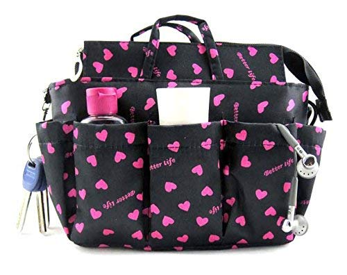 Periea Large Handbag Organiser, Sash, Black / Pink, 13 Compartments