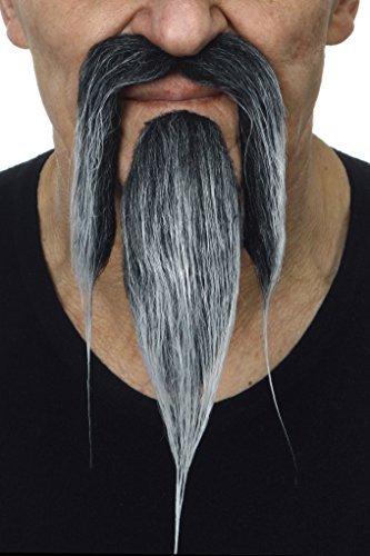 Mustaches Selbstklebende Neuheit Shaolin Fälscher Bart und Fälscher Schnurrbart für Erwachsene Salz und Pfeffer Farbe