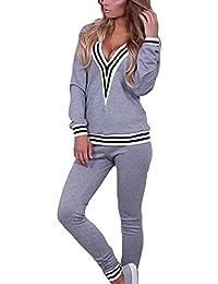 Tuta Donna Autunno Inverno Elegante Lunga Manica V Neck A Righe Tops+ Sportive  Pantaloni Slim Fit Sportivi 2… 8058550547b