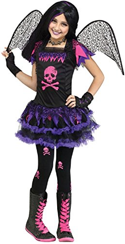 Gefallene Kostüm Engel Mädchen - Fancy Me Mädchen dunkel Gefallener Engel Schädel Fee + Wings Halloween Kostüm Kleid Outfit 6-10 Jahre - schwarz/lila, 8-10 Years