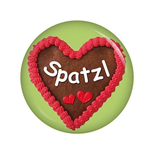 ebkuchenherz Spatzl Button Ansteckbutton 37mm Oktoberfest Wiesn Volksfest für Dirndl oder Lederhose ()