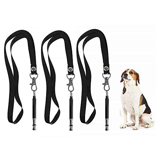 Xinxun Profi-Hundepfeife 3 Stück 3 x Umhängeband Hundepfeifen ultraschall, Hochfrequenz, Verstellbar leise Bellen stoppen (schwarz)