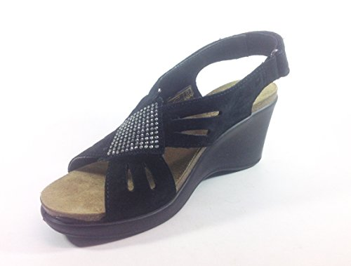 Sandales femme-chaussures en cuir avec calage Made in Italy 32981 confortable Multicolore - noir