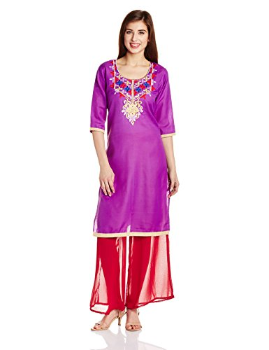 Atayant Women's Straight Salwar Suit Set (ATAY02004_Purple_Small)