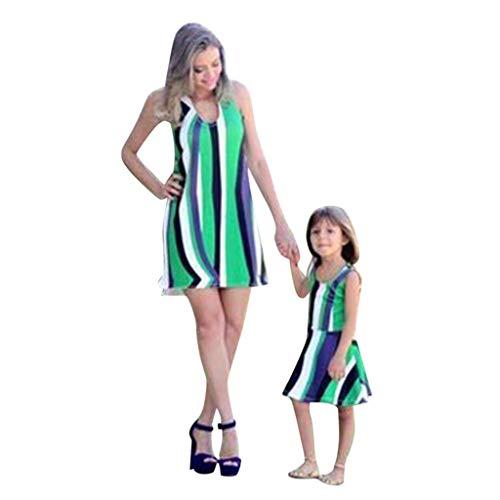 Child Gestreifte Druck Weste Printin Rock Familie Kleidung Kleid Familie passende Outfits ()