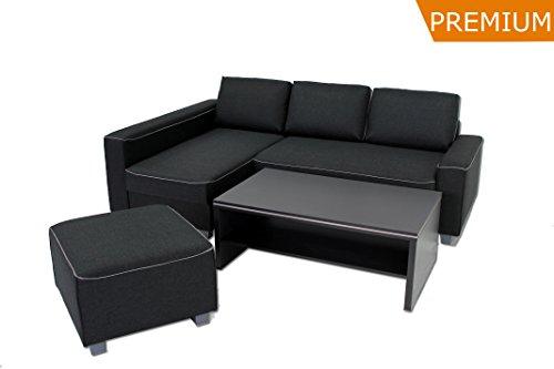 Hocker mit Keder ka-line® 67x67x45 cm Anthrazit mit Füßen Polster-Hocker Sitzhocker Ergänzung zu Schlaf-Sofa Wohnlandschaft Bankhocker
