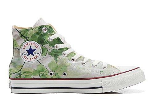 Converse All Star Hi Customized personalisierte Schuhe (Handwerk Schuhe) grüne Blume TG39 (Frauen Converse Blumen)