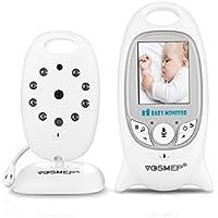 """VOSMEP Baby Monitor Baby Phone Vigilabebés Supervisar el Cuidado 2.4G 2"""" LCD Función de Visión Nocturna con Clavijas Digital Inalámbrico Cables de Intercomunicación 2 Enchufe Cable de Carga Seguridad para Bebé, Color Blanco"""