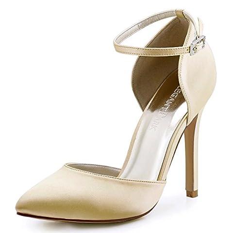 ElegantPark HC1602 Women Pointed Toe High Heel Ankle Strap D'Orsay Satin Pumps Wedding Evening Party Court Shoes Champagne UK