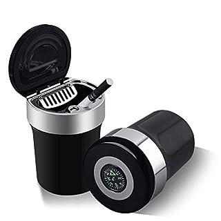 Rauchloser Auto Zigaretten Aschenbecher Halter mit blauem Licht und Kompass tragbar
