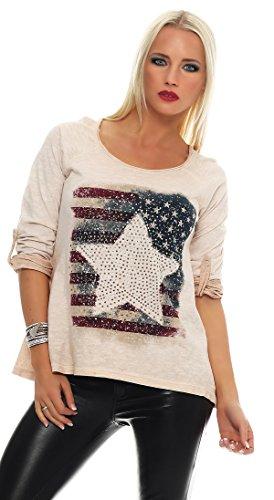 IKONA21 - Fashion Italy Damen Shirt Bluse Tunika Onesize S M L 36 38 40 42 500 464 Rose