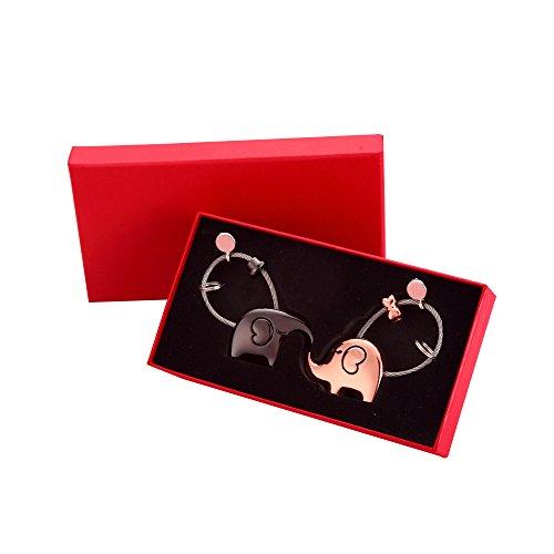 Joykey Schlüsselanhänger 1 Paar küssender Elefant Schlüsselring partneranhänger Valentinsgruß Geschenk Zink Legierungs glänzende Anhänger,Schwarz&Roségold