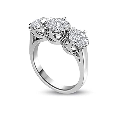 0.30ct G/SI1 Diamond Trilogy Promise Ring for Women with Round Brilliant cut diamonds in 18ct White Gold