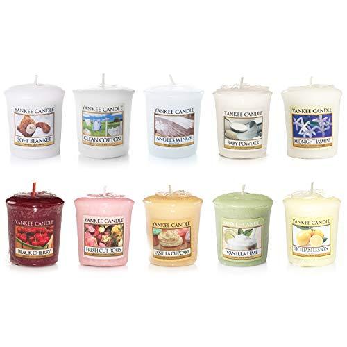 Yankee Candle–Velas perfumadas y portavelas de cristal marca Sampler, Votive Samplers Set of 10