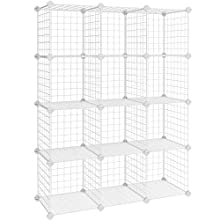 SONGMICS 12 Cubes Wire Grid Storage Rack, Interlocking Shelving Unit with Metal Mesh Shelves + PP Plastic Sheets for Books Shoes Toys Clothes Tools, in Living Room Bathroom White LPI34W