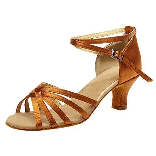 Alaso - Scarpette da ballo/standard per danza latino/tacco alto, per donne e ragazze marrone 37