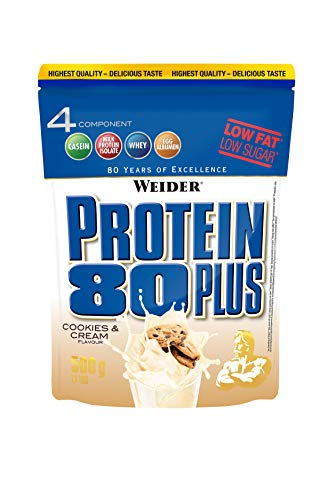WEIDER Protein 80 Plus Eiweißpulver, Cookies & Cream (Low-Carb, Mehrkomponenten Casein Whey Mix für Proteinshakes, 500g)