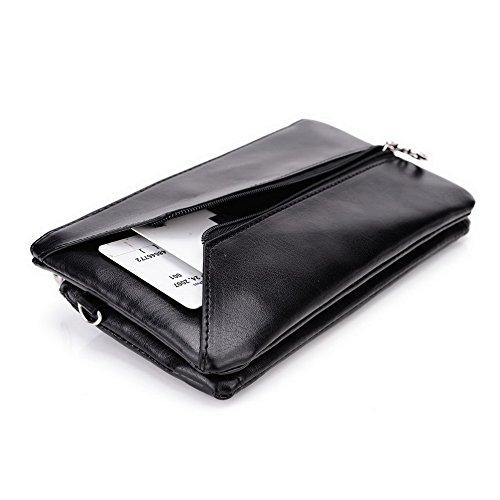 Kroo Lien Series Étui portefeuille pour femme Dragonne Sac à bandoulière Compatible avec de nombreux 4à 12,7cm universel pour Vivo xplay3s/Vodafone/ZTE/Pantech Téléphone portable noir - noir Multicolore - Jet Black and Red