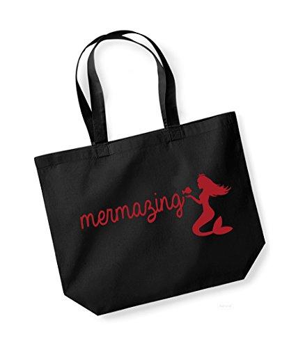 Mermazing - Large Canvas Fun Slogan Tote Bag Black/Red
