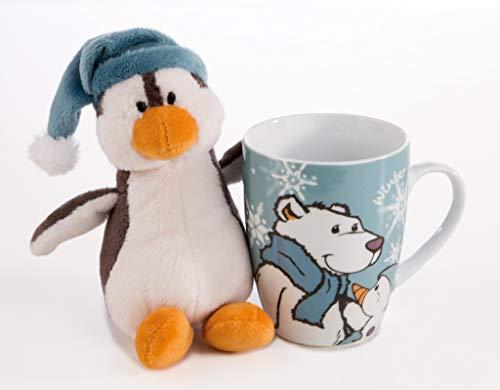 Nici 42030 Winter Geschenk-Set Kuscheltier Pinguin Toddytom in Tasse, 15 und 8 x 10 cm, bunt -