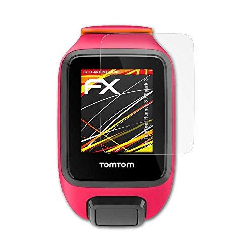 atFoliX Schutzfolie kompatibel mit Tomtom Runner 3 / Spark 3 Displayschutzfolie, HD-Entspiegelung FX Folie (3X)