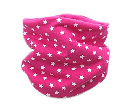 """Kleine Könige Kinder Loop (dehnbar) Schlauchschal Kinderschal""""Sterne"""" Pink (1-8 Jahre) - Fleecefarbe Pink"""