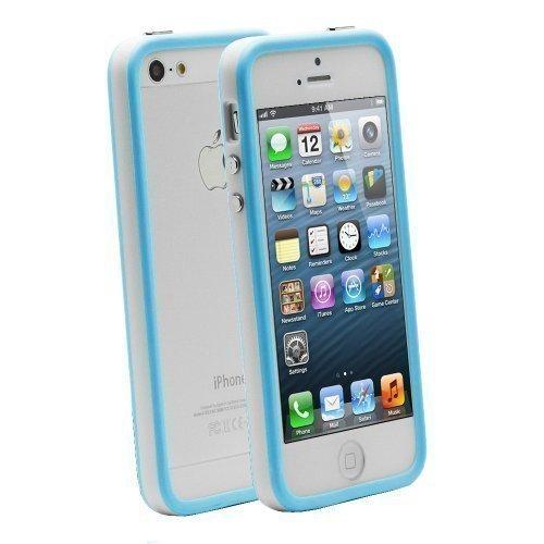 G4GADGET® Iphone 4S/4 Silicon Bumper White/Green 5/5SBlue/White