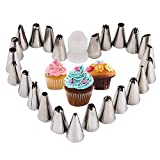 #9: Kurtzy Stainless Steel Icing Nozzles with Coupler for Decorating Frosting Cup Cake Pastry Desserts Set of 24