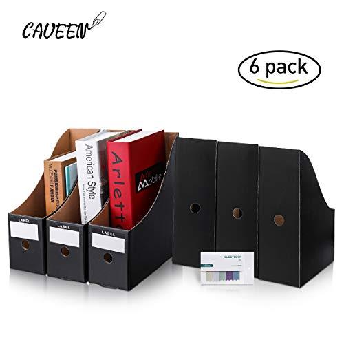 CAVEEN Stehsammler, Recyceltem Karton Zeitschriftenbox 5er Packung,Datei Organizer Kraftpapier Aktenhalter Bürobedarf Zeitschriftenhalter Schreibtisch Speicherorganisator (Schwarz)