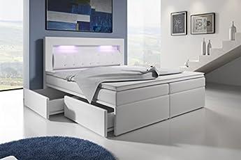 Boxspringbett mit Bettkasten 180x200 Weiß LED Kopflicht Glasstein Hotelbett Neapel