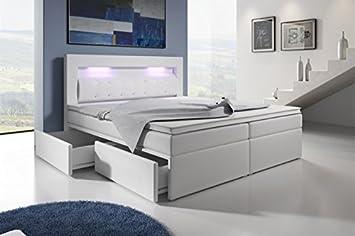 Boxspringbett weiß 180x200  Boxspringbett mit Bettkasten 180x200 Weiß LED Kopflicht Glasstein ...