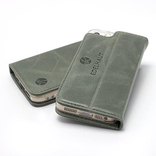 EDELHAUT Handytasche V2.0 mit unsichtbarem Magnetverschluss in grau für Apple iPhone 5 5S und SE aus echtem Leder (Leder 2.0)