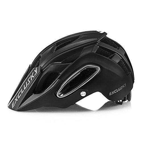 Exclusky Casco da Bicicletta con Visiera Rimovibile,M(54-58cm) (nero)