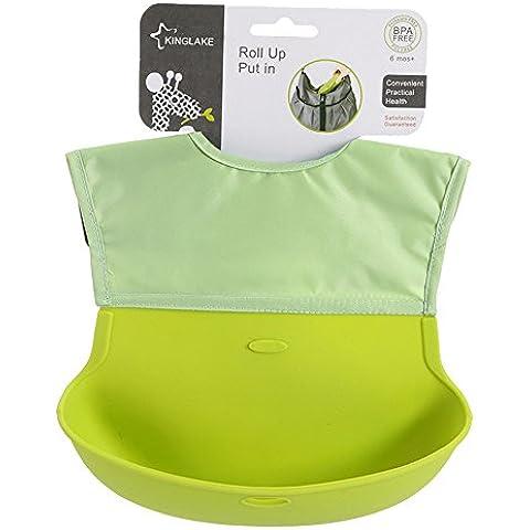 G2Plus babero de portátil de silicona para bebé suave con instrucciones para coser baberos colector de alimentos de infantil con diseño de bolsillo de diseño de equipo Celtic de agua plegable y pantalla a juego para bolsa de pañales de las bolsas
