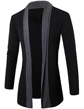 SHOBDW Elegantes hombres moda chaqueta Cardigan Slim manga larga casual Coat