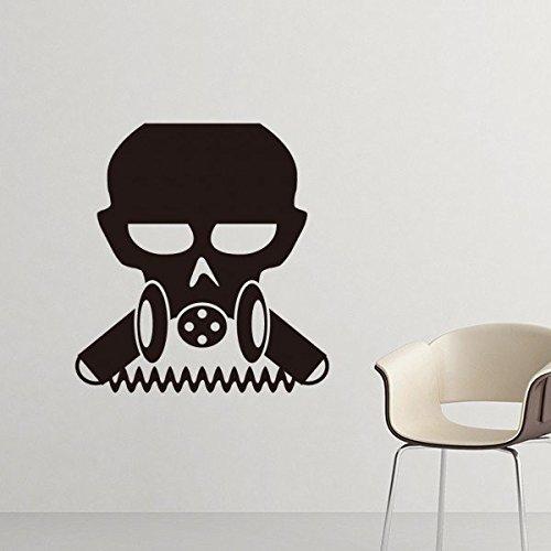 schmutzung biochemische Waffe Cyborg Gasmaske Silhouette Muster Silhouette entfernbarer Wand-Aufkleber-Kunst-Abziehbilder Wand-DIY Tapete für Zimmer Aufkleber 40cm Lila ()