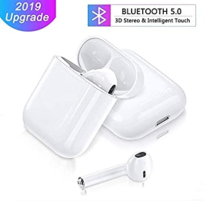 Bluetooth Earphones Wireless Earbuds, 2019 Newest V5.0 3D Stereo IPX5 Sports Bluetooth Headphones Wireless Earphones with Build-in Mic & Pop-ups Auto Pairing for All Bluetooth Devices