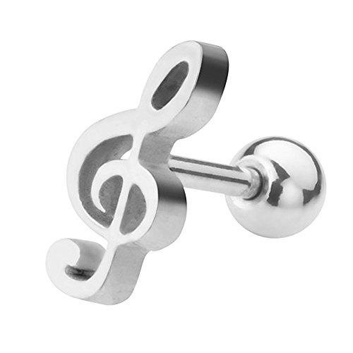 Piercingfaktor Piercing Ohr aus Chirurgenstahl Helix Tragus Ohrpiercing Cartilage Stab Barbell Knorpel Stecker Notenschlüssel Flach Kugel Silber