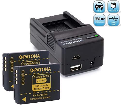 Bundlestar Akku Ladegerät 4 in 1 inkl. Ladeschale für BCG10E + 2x Bundlestar * Akku Ersatzakku für Panasonic DMW BCG10E BCG10 passend zu Panasonic Lumix DMC 3D1 TZ36 TZ31 TZ25 TZ22 TZ18 TZ10 TZ8 TZ7 TZ6 ZX3 ZX1 - Leica V-Lux 20, V-Lux 30, V-Lux 40 NEUHEIT mit Micro USB-Anschluss