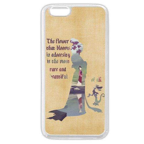 Personnalisé Blanc en caoutchouc souple (TPU) Disney Cartoon Mulan iPhone 6Plus Coque, uniquement compatible avec iPhone 6+ 14cm