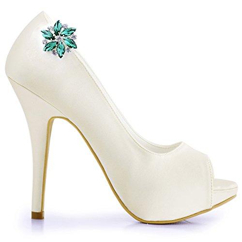 ElegantPark AJ Damen Passenden Fashion Tanzschuh Party Schuhe Clutch Tasche Hat Kleider Strass Schuh clips 2 St¨¹ck Teal