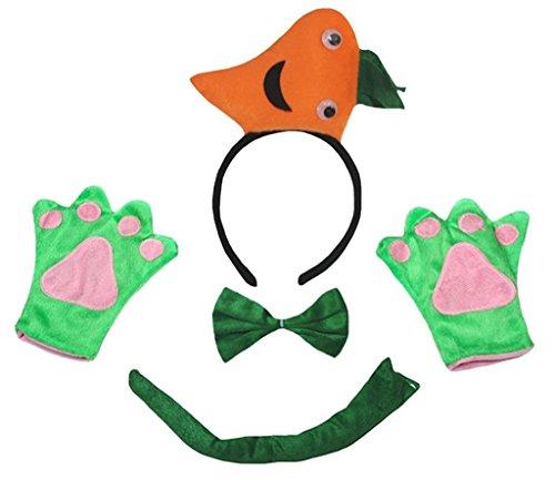 Petitebelle 3D Karotte Stirnband Bowtie Schwanz Glove 4pc Unisex Kostüm für Erwachsene Einheitsgröße 3d ()