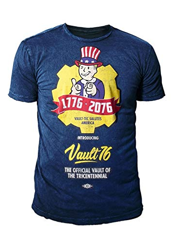 Fallout 76 - Premium Herren Gaming T-Shirt - Vault 76 Poster (Navy Blau) (S-XL) (L) (Vault Jacke Fallout)