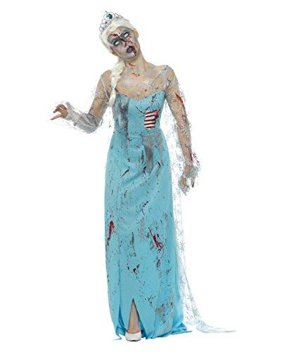 Zombie Eiskönigin Kostüm mit Kleid & Diadem als Halloween Verkleidung (Halloween Erwachsene Für Kostüme Märchen)