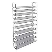 Azadx 10 Tier Shoe Racks, Free Standing Non-Woven Fabric Shoe Furniture Storage Organizer Adjustable Space Saving Shelf Shoe Rack Black/Gray (Gray)