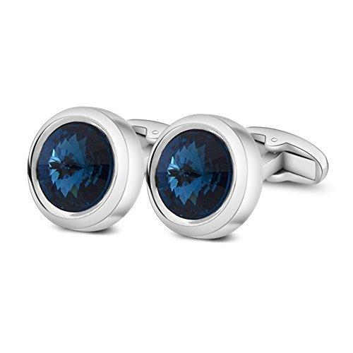 Merit Ocean Herren eleganten Stil Manschette Link Super glänzend Swarovski Marineblau Blau Kristall Circular Manschettenknöpfe