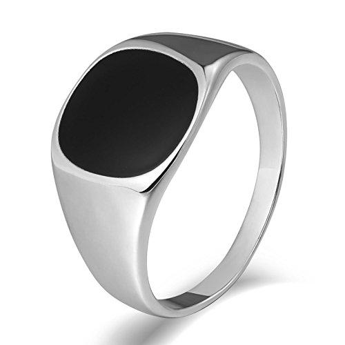 SonMo Stainless Steel Herren Ringe Siegelring Herren Edelstahl Bandring Edelstahl Silber Signet Ring Band Ring Daumenring für Mann