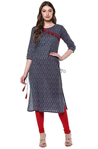 Janasya Women's Blue Cotton Straight Printed Kurta (JNE2174-KR-335-XL)