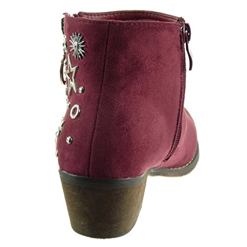 Angkorly - damen Schuhe Stiefeletten - Reitstiefel - Kavalier - Reißverschluss - Stern - Nieten - besetzt Blockabsatz high heel 5 CM Burgunderrot