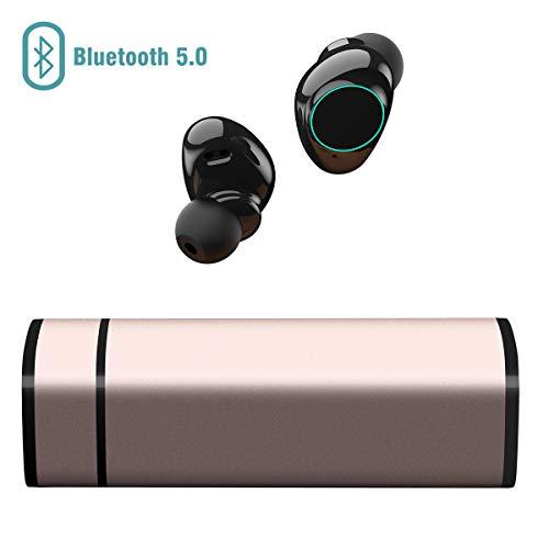Auricolari Bluetooth 5.0, Cuffie Bluetooth Muzili TWS Leggeri Hi-Fi Cuffie Cancellazione Rumore,Auricolari Sport IP65, Earbuds con MIC per iPhone e Android con Scatola Ricarica Portatile - Gold